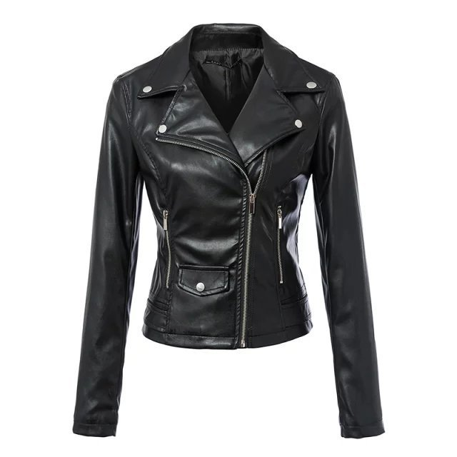ZOGAA 2019 Black Women   Leather   Jacket Zipper Bright Street Turn-down Collar Faux   Leather   with Pocket