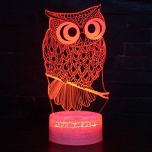 Color Changeable Owl Bird Illusion LED 3D Visual Night Light Creative Bedroom Decoration Novelty Table Desk Lamp Kids Gift