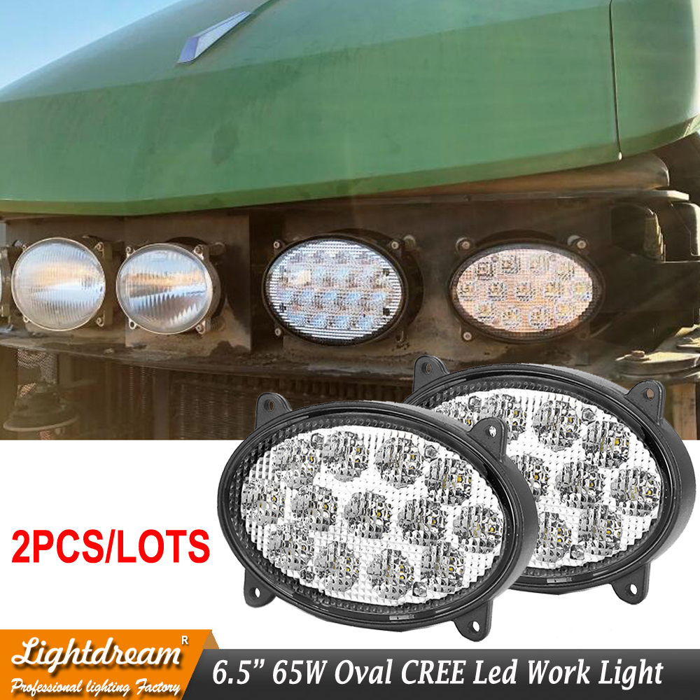 6.5 inch Oval Led Agricultural Tractors Work Lights For John Deere RE260102,RE173600,RE181963 65W led offroad lights x2pcs/lots