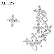 Aiffry 2017 Clover Crystal Earrings Luxury Jewelry Fashion Stud Earrings For Women Gift E2270