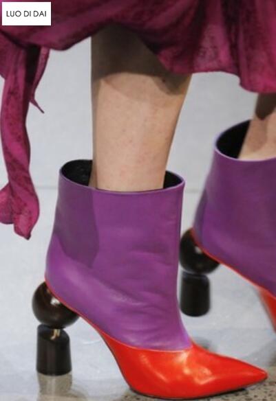 Blanches Chaussures Bottes or Sexy Femme Talon 2019 Toe De Sur Chaussons Pour Couleur lavande Étrange Soirée Mix Slip Motos Femmes gris Noir Bottines blanc Point 1Yqq6n40x