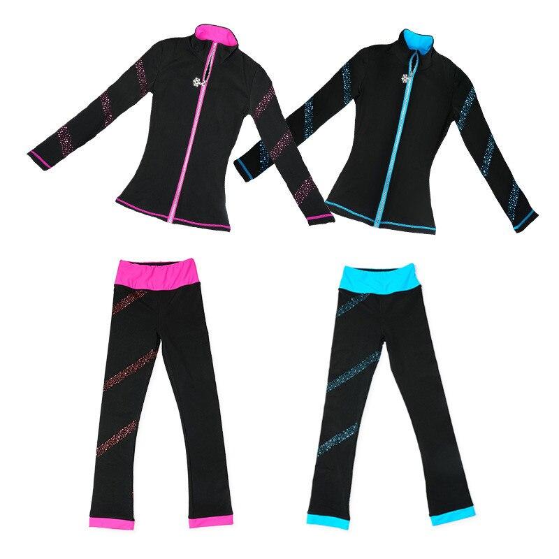 Patinage artistique Costumes Veste et Pantalon Long Pantalon pour Fille Femmes Formation Patinaje Patinage Sur Glace Bleu Rose Strass Brillant