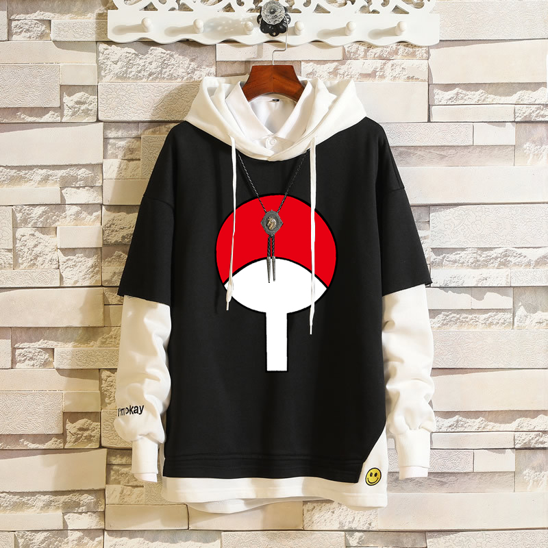 Fashion Fake Two-Piece Hoodie Pullover Anime Hokage Uchiha Clan Hip-Hop Sweatshirt Cotton Ribbed Layered Sleeve Loose Streetwear