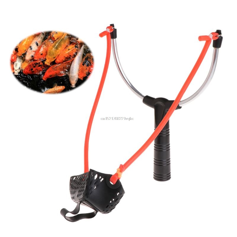 Fishing Bait Slingshot Thrower Aluminum Alloy Elastic Powerful Catapult Food Bag