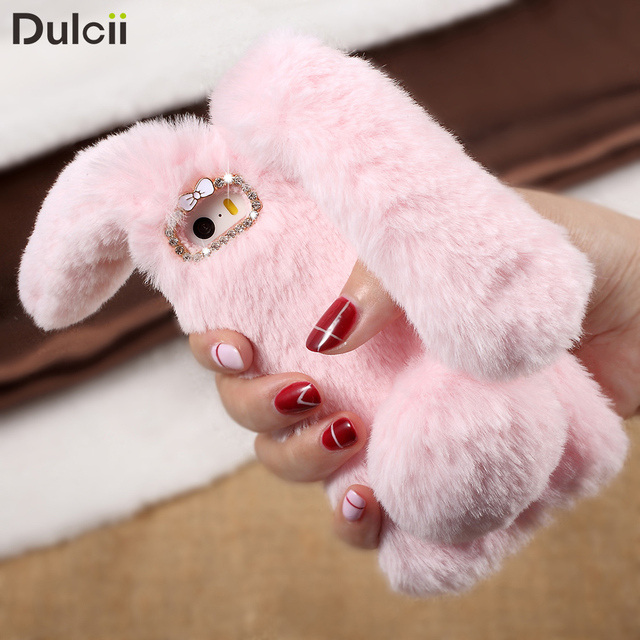 Smartphone Case For iPhone X 10 8 7 7 Plus 6 6S 6 Plus 5 Case Bunny Shape Warm Artificial Fur TPU Rabbit Cover For iPhone 5s SE