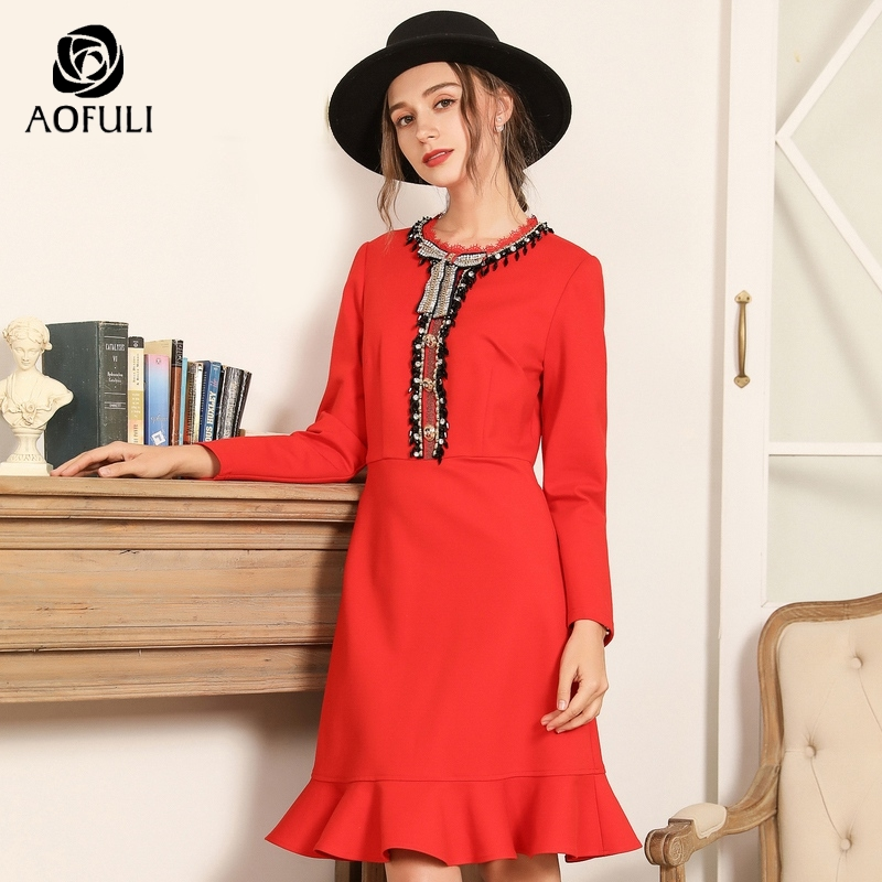 AOFULI Luxury Diamond Bow Tie Women Dress 2019 Spring Long Sleeve Ruffle Party Dresses Plus Size