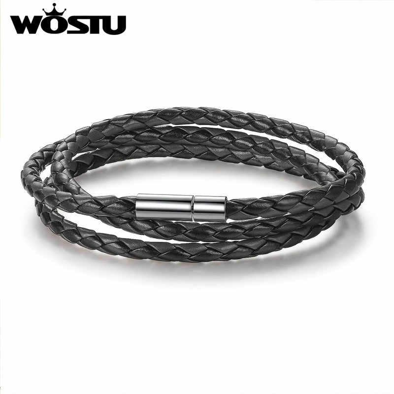 WOSTU 2019 gorąca sprzedaż 6 kolor 60 CM PU Leather Wrap bransoletka z zapięciem magnetycznym wysokiej jakości biżuteria dla kobiet mężczyzn Pulseira XCJ0063