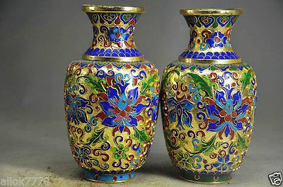 A Pair Of Chinese Hand Made Copper Cloisonne Vase Flowers