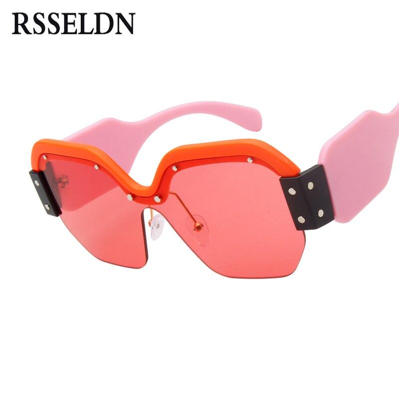 RSSELDN Quadrati Oversize Occhiali Da Sole Donne Del Progettista di Marca Retro Nero Rosso Occhiali Da Sole Femminili 2018 di Modo Shades Gafas de Sol