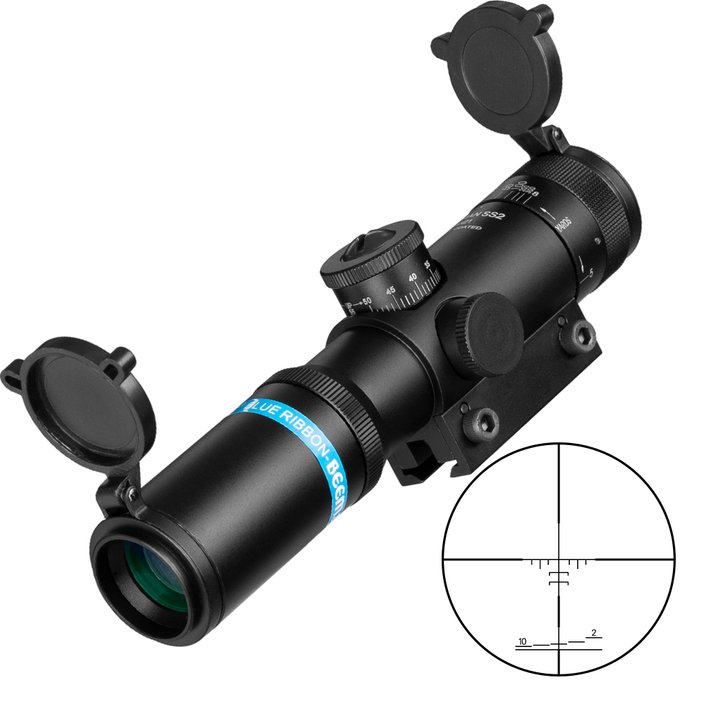 EB SS2 4x21 AO Compact Hunting Air Rifle Scope Tactical Optical Sight Glass Etched Reticle Riflescopes With Flip Open Lens Caps