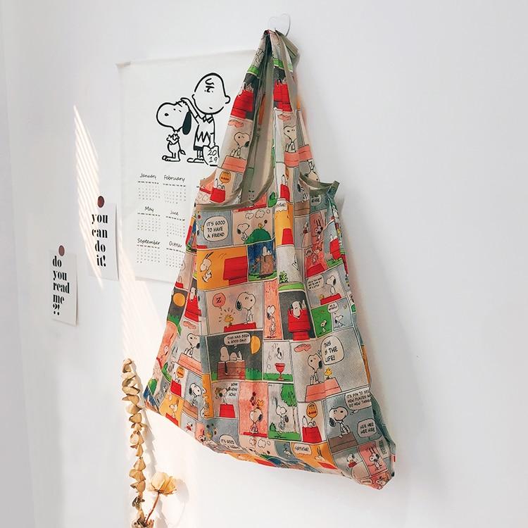 Foldable Recycle Shopping Bag Travel Shoulder Bag Folding Reusable Shopping Tote Handbag Cartoon Storage Bags SNOPY