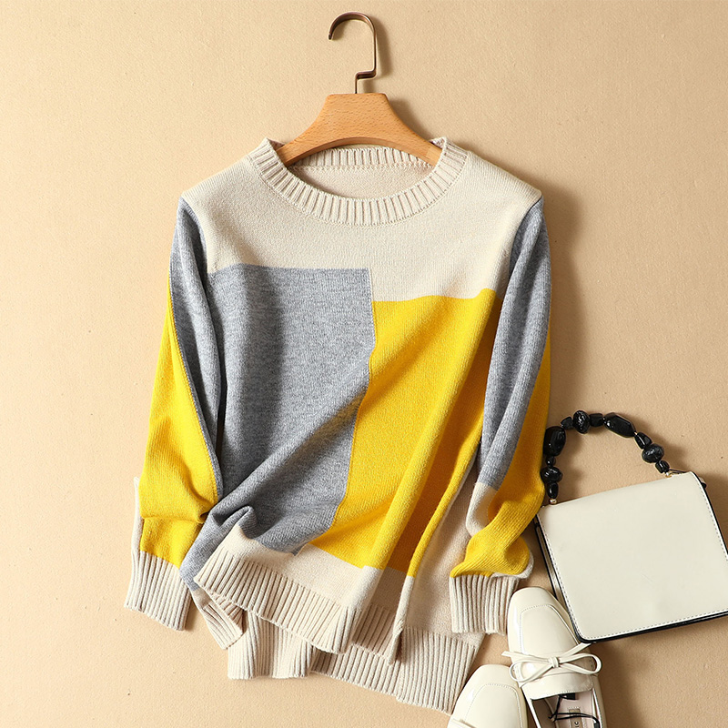 autumn winter new 2019 women knitted sweaters and pullovers o neck Casual Plaid Sweater loose Knitted