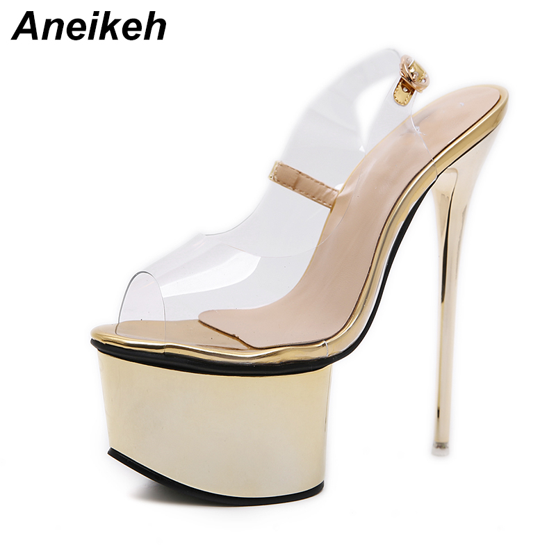 Aneikeh Women Sandals Gladiator Party Ankle Strap PVC Transparent Concise Ultra Very High heel Pumps 16CM Fetish Sandals ShoesAneikeh Women Sandals Gladiator Party Ankle Strap PVC Transparent Concise Ultra Very High heel Pumps 16CM Fetish Sandals Shoes