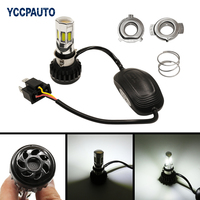Motorcycle LED Headlight Universal Bulb H4 HS1 BA20D P15D H6 3500LM 35W White Headlamp For All
