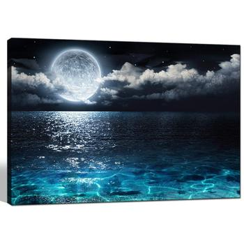 Modern Canvas Wall Art Large Full Moon in Cloud Landscape Picture Canvas Prints Blue Clear Ocean Seascape Poster Drop shipping
