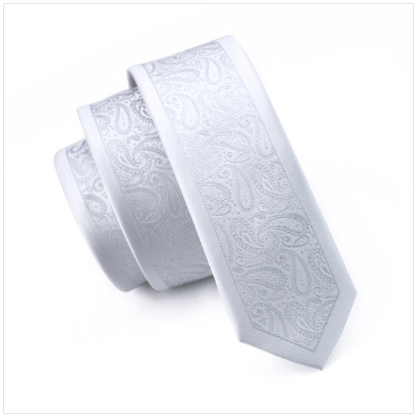Gray Rim Silver Paisley Slim Tie Skinny Narrow Gravata 2016 Fashion Silk Neck Ties For Men 5.5cm Width Wedding Dress E-214 Lovely Luster Men's Ties & Handkerchiefs