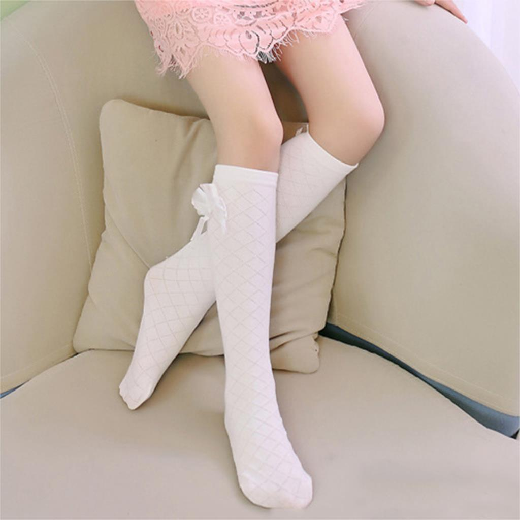 Baby Kid Socks Girl Children Cute Princess Solid Color Bow Pattern Knee High Long Socks