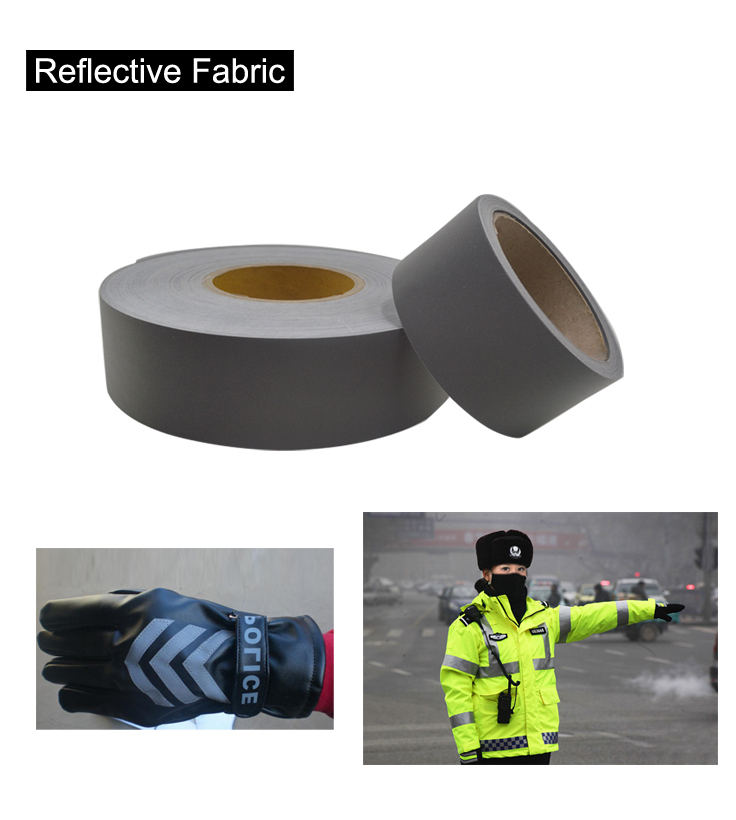Silver Poliester Fabric Sew on Reflective Safety Jacket Warning Conspicuity Fabric Free shipping