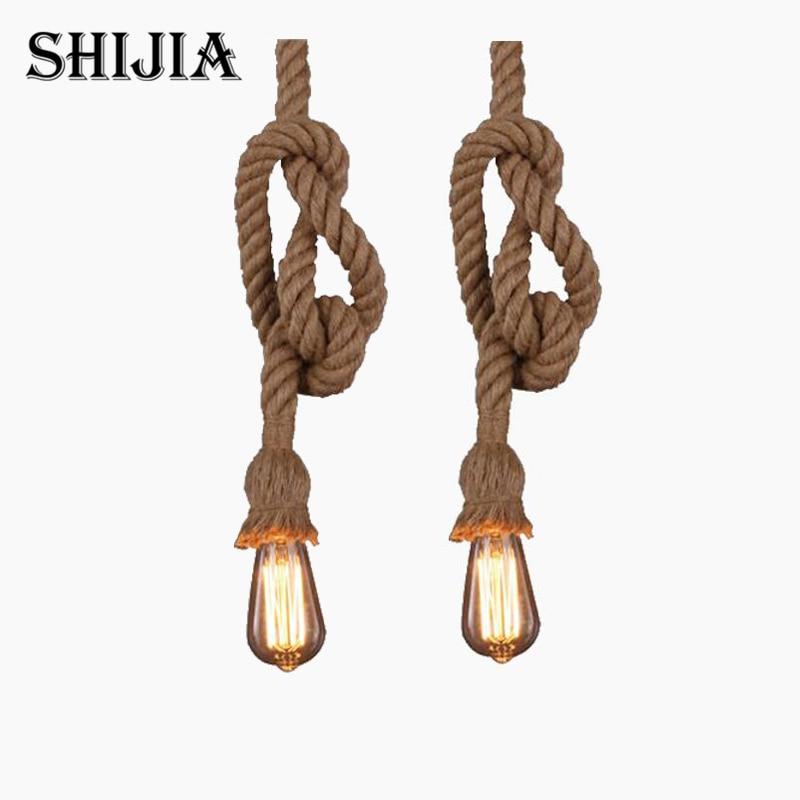 Vintage Rope Pendant Light Lamp Loft Creative Personality Industrial Lamp Edison Bulb American Style For Living Room american edison loft style rope retro
