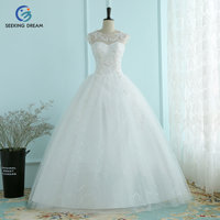 2017 Hot White Sexy Ball Gown Dress Yarn Lace O Neck Wedding Dress Elegant Embroidery Bride