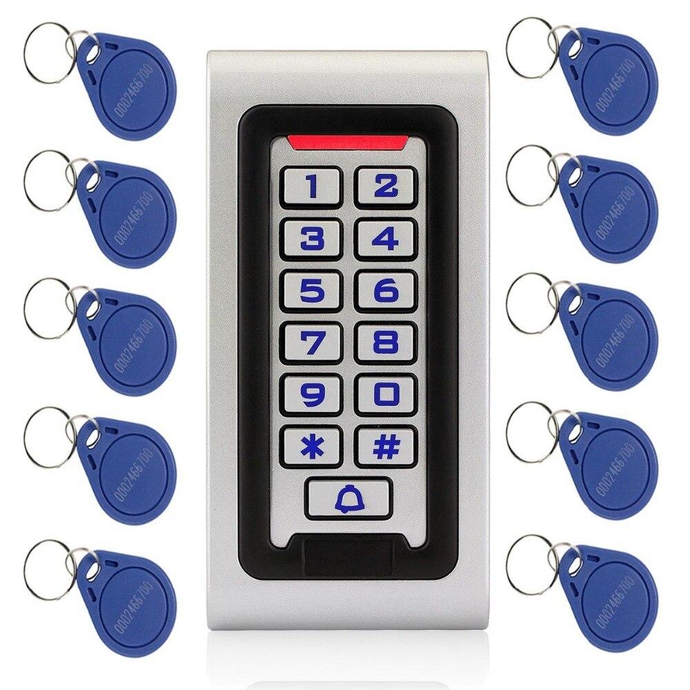 Étanche IP68 RFID 125 KHZ ID Clavier Unique Porte de Contrôle D'accès autonome Boîtier Métallique et Wiegand 26 bits + 10 pcs RFID Cartes F1215
