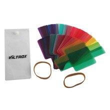 Viltrox 20 pièces couleur photographique couleur Gels filtre carte éclairage diffuseur pour Canon Nikon Yongnuo Flash Nissin Speedlite