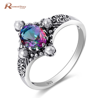 Victoria Style Restoring Ancient Ways 925 Sterling Silver Rings Rainbow Mystic Created Topaz Birthstone Engagement Ring