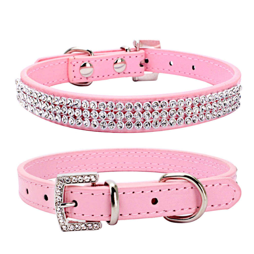 Hot New Adjustable Shiny Crystal Pet Dog Collar with Leash Lead PU Leather Harnesses Pet Product  XH8Z