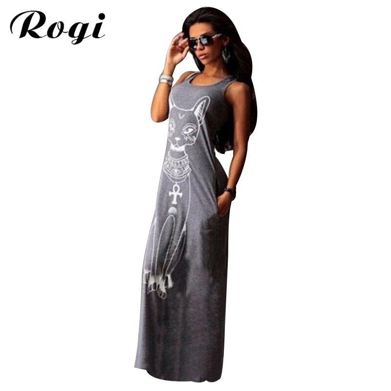5693c944260 Detail Feedback Questions about Rogi Cat Print Long Maxi Dress Summer Boho Beach  Bodycon Dresses Vintage Sundresses Evening Party Dress Vestidos Mujer Plus  ...