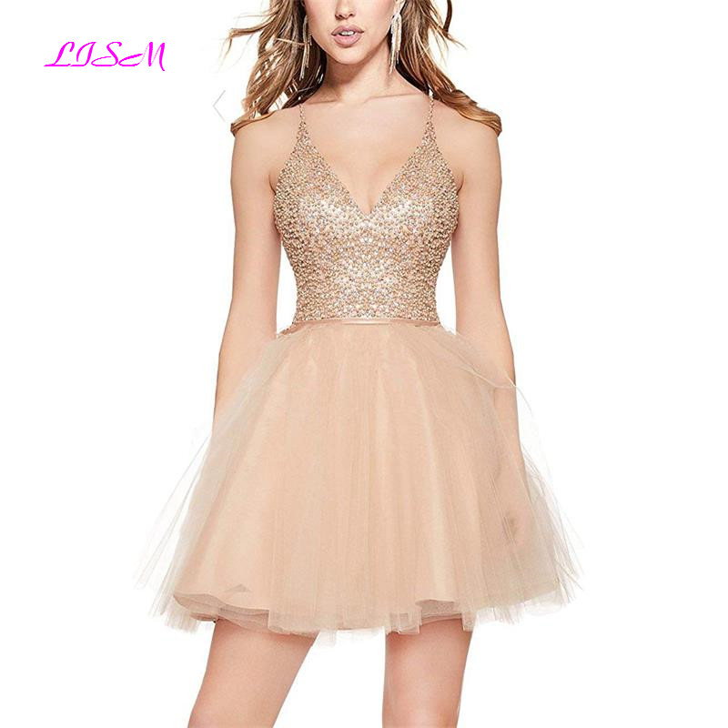 Sexy Bling Cocktail Dress Mini Tulle Homecoming Dresses Spaghetti Straps Beaded Short Prom Gowns Robe Coktail Princesse Femme