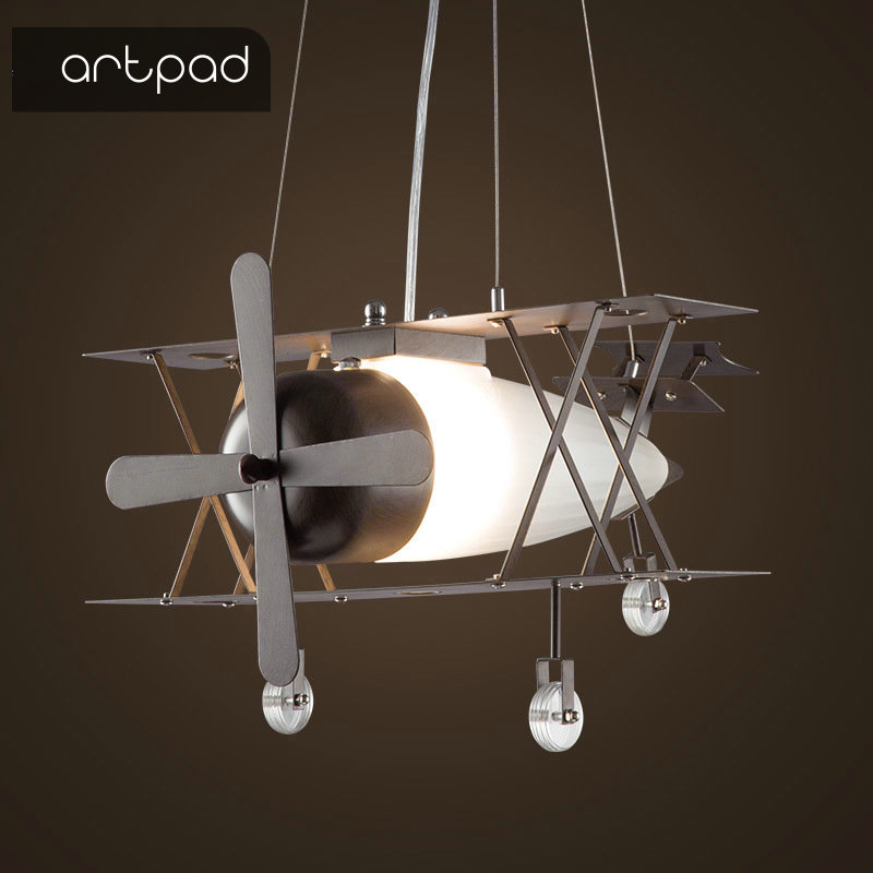 Artpad American Retro Industrial Style 30W Aircraft led Kids Iron Pendant Light Dining Room Children room Airplane Pendant Lamp image