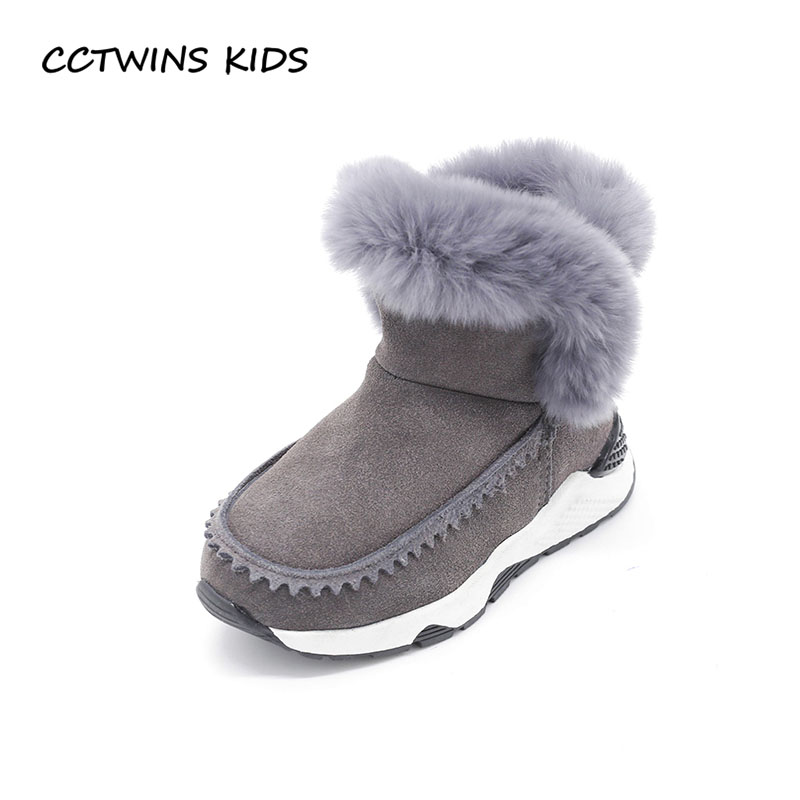 CCTWINS KIDS 2017 Toddler Cotton Child Brand Baby Girl Fashion Real Leather Boot Kid Black Fur