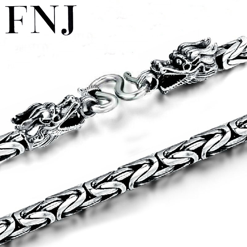 FNJ 925 Silver Dragon Head Necklace for Men Jewelry Width 4mm 5mm 6mm 7mm Original S990 Thai Silver Women NecklaceFNJ 925 Silver Dragon Head Necklace for Men Jewelry Width 4mm 5mm 6mm 7mm Original S990 Thai Silver Women Necklace