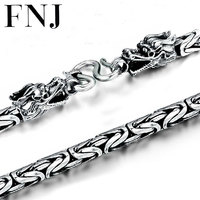 FNJ 925 Silver Dragon Head Necklace for Men Jewelry Width 4mm 5mm 6mm 7mm Original S990 Thai Silver Women Necklace