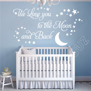 WXDUUZ We Love you to the Moon and Back Vinyl Wall Sticker Nursery Kids Room Home Decor Vinyl Wall Decals B297(China)