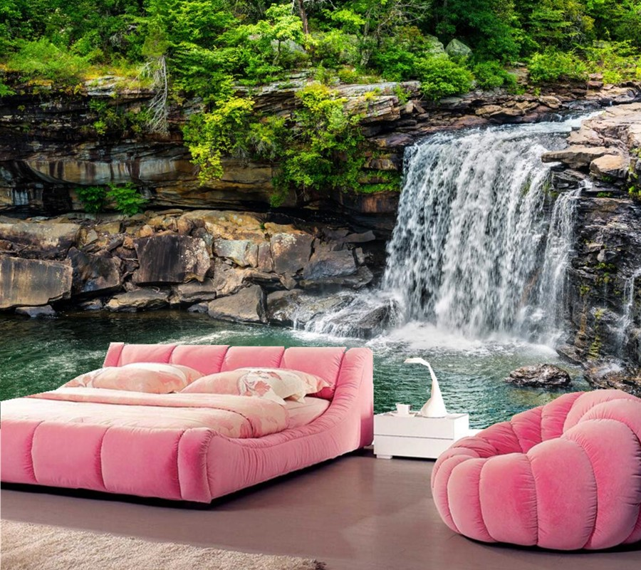 3d wall murals wallpaper waterfalls stones nature for 3d wallpaper for living room malaysia