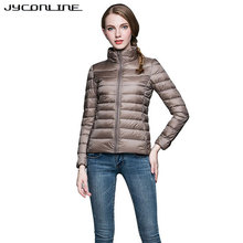 ФОТО jyconline fashion light down jackets women winter coat long sleeve stand-collar warm coats parkas fitness coats women 2017 plus