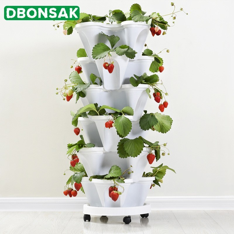 3 Tier Strawberry Planter: 3 Tier Stackable Strawberry Herb Flower Vegetable Planter