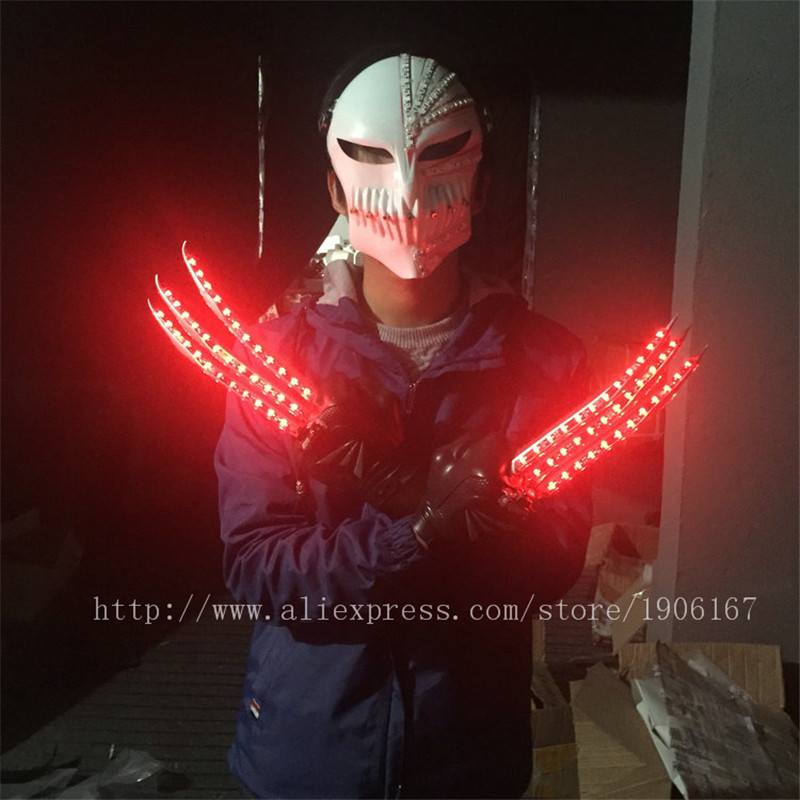 Newest Red Led Luminous Wolverine Claws Gloves Light Up Show Christmas Halloween Handwear Stage Props Party Supplies