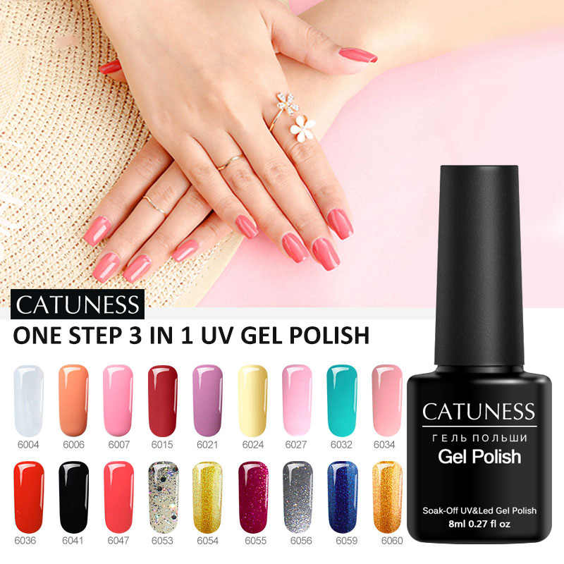CATUNESS Fashion Professional One Step 3 In 1 Nail Polish Semi-Permanent Enamel Transparent Nails UV Nail New Tools Nail Design