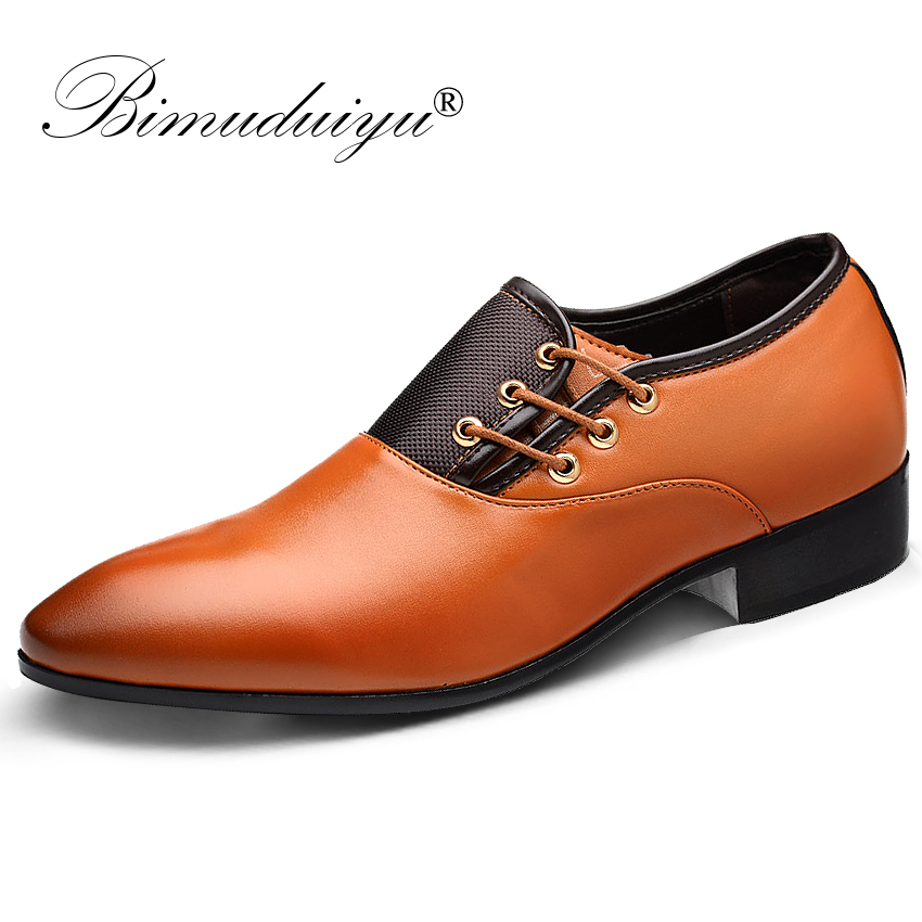 BIMUDUIYU Brand New Men's Dress Shoes Black Classic Point Toe Oxfords For Men Fashion Mens Business Party Shoes Formal Shoes hot sale luxury brand men classic oxfords italian mens leather dress shoes new men formal shoes black white patch flowers 39 46