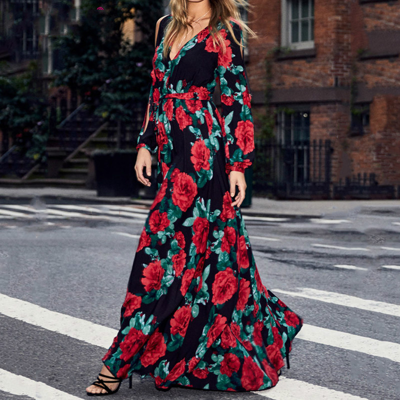 CUERLY women bohemian long dress Hot sale rose printing V neck sexy CUERLY de festa spring summer fashion long sleeve dress in Dresses from Women 39 s Clothing