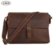 7084LB J.M.D Crazy Horse Leather Men's Brown Messenger Cross Body Shoulder Bag Hot Selling