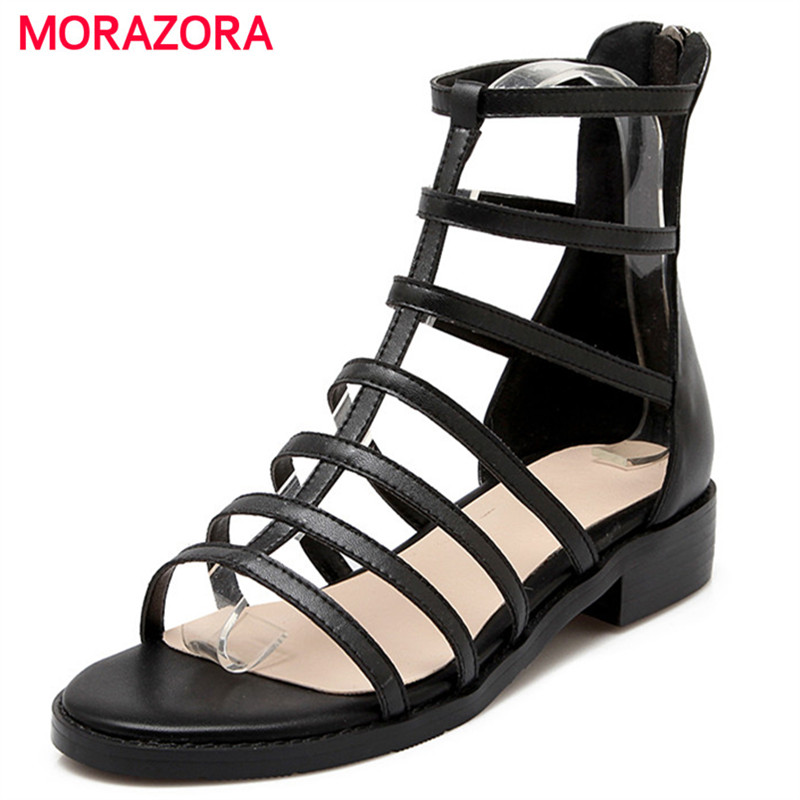 MORAZORA Roman shoes woman black zipper genuine leather shoes low heels summer women sandals fashion shoes open-toed стоимость