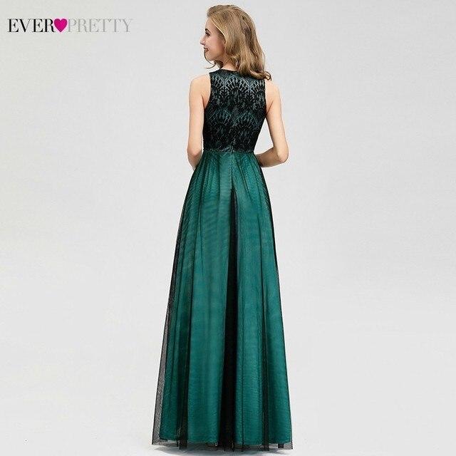 Elegant Dark Green Evening Dresses Long Ever Pretty EZ07965 A-Line Contrast Color Embroidery Lace Formal Dresses Robe De Soiree 3