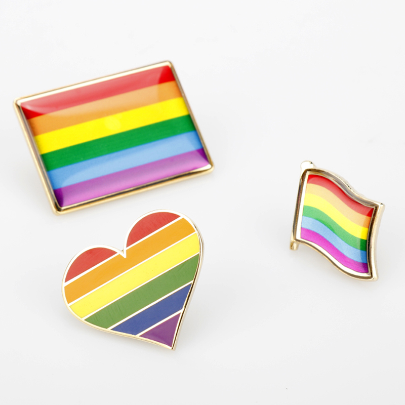 LGBT <font><b>Pride</b></font> Rainbow Heart Badge Rainbow <font><b>Flags</b></font> Intersex <font><b>Pride</b></font> <font><b>Asexual</b></font> Pin Metal Badges for Backpacks Brooch Jewelry image
