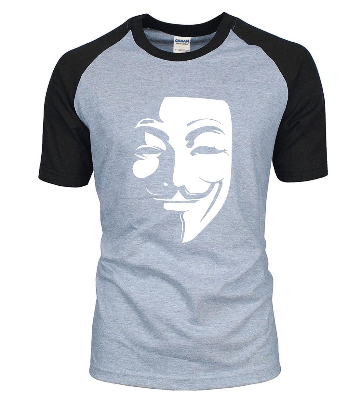 Hot Sale V for Vendetta men t shirt 2019 new summer 100% cotton hip hop raglan men t shirts fashion casual hipster top tees
