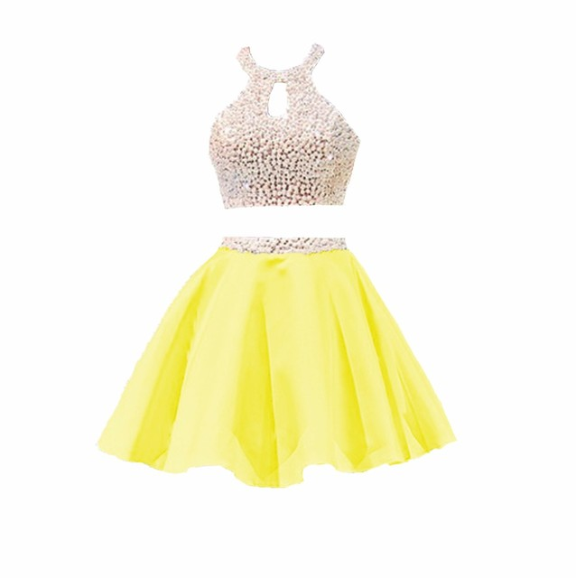 2017 Two piece Homecoming Dresses Short Halter Yellow Open Back ...