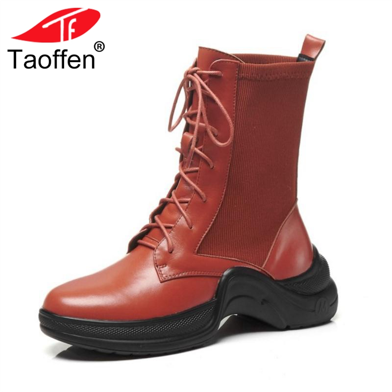 TAOFFEN Women Genuine Leather Boots Mid Calf Lace Up Patchwork Flats Boots Warm Shoes Women High Quality Footwear Size 34-39 taoffen women genuine leather flats snow boots women metal buckle mid calf boots warm fur shoes for women footwears size 34 39