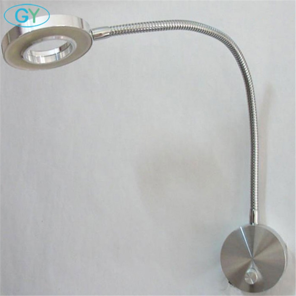 Modern dimmable led book light bedside reading lamp knob switch dimming wall mount lighting flexible 5W led gooseneck fixtures